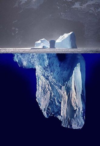 Innovation is but a fraction of the tip of the iceberg.  (Work by Uwe Kils) http://www.ecoscope.com/iceberg/